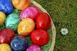 Thumbnail Colourful Easter eggs, basket, grass, daisies, Easter