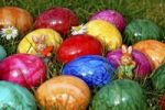 Thumbnail Colourful Easter eggs, china rabbits, grass