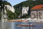 Thumbnail monastery Weltenburg , oarsmen Danube river , Lower Bavaria Germany
