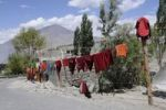 Thumbnail Diskit convent, buddhist monks' washings on the line, Nubra Valley, Ladakh, Jammu and Kashmir, North India, India, Asia