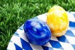Thumbnail Easter eggs on Bavarian plate on grass