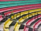 Thumbnail Green, red and yellow seat rows in the Friedrich Ludwig Jahn stadium in Berlin Prenzlauer Berg, Germany, Europe