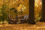 Thumbnail Chairs, table, autumn colours, Quebec, Canada