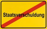 Thumbnail End of town sign with the name Staatsverschuldung, symbolic image for putting an end to Government debt