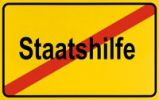 Thumbnail End of town sign with the name Staatshilfe, symbolic image for putting an end to Government assistance