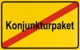 Thumbnail End of town sign with the name Konjunkturpaket, symbolic image for the end of the economic stimulation package