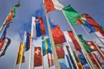 Thumbnail International flags in front of Messe Berlin fairgrounds, Berlin, Germany