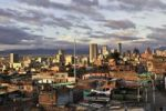 Thumbnail View over the city centre in the evening light, Bogotá, Colombia, South America