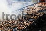 Thumbnail fried sausages at Mariahilfbergfest festival in Amberg , Upper Palatinate Bavaria Germany