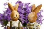 Thumbnail Two Easter bunnies in front of bellflowers