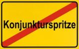 Thumbnail Town exit sign, German lettering Konjunkturspritze, symbolic of end of boost to the economy