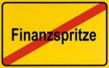 Thumbnail Town exit sign, German lettering Ende der Finanzspritze, symbolic of end of cash injection