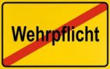 Thumbnail Town exit sign, German lettering Wehrpflicht, symbolic of end of compulsory military service