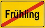 Thumbnail Town exit sign, German lettering Fruehling, symbolic of end of spring