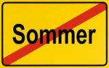 Thumbnail Town exit sign, German lettering Sommer, symbolic of end of summer