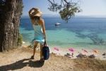 Thumbnail Woman looking at the sea, Bol, Brac Island, Dalmatia, Croatia, Adriatic Sea, Mediterranean, Europe