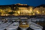Thumbnail Harbour and Palace Hotel in the historic centre of Hvar at dusk, Hvar Island, Dalmatia, Croatia, Europe