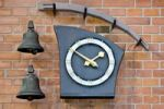 Thumbnail Modern wall clock and two bells, Copenhagen, Denmark