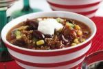 Thumbnail Chili con carne, minced meat, kidney beans, corn, bell pepper, chili and creme fraiche