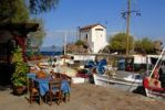 Thumbnail Restaurant tavern, chairs and tables outside, small fishing boats in the harbor of Skala Sikaminea, Greek Orthodox chapel, Lesbos Island, Aegean Sea, Greece, Europe