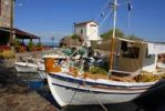 Thumbnail Typical fishing boat in the small port of Skala Sikaminea, Greek Orthodox chapel, Lesbos Island, Aegean Sea, Greece, Europe