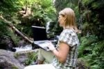 Thumbnail Woman, mid 40, surfing in the Internet outdoors, Ravennaschlucht Gorge, Hinterzarten, Black Forest, Germany, Europe
