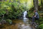 Thumbnail Man sitting on a creek on Mt Feldberg in the Black Forest, Germany, Europe