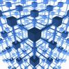 Thumbnail Three-dimensional grid structure made of blue cubes and rods, 3D Illustration