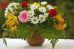 Thumbnail Bouquet with Gerberas and Lilies (Lilium) in a vase