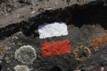 Thumbnail Red-white hiking trail marks and lichens on volcano rocks, La Palma, Canary Islands, Spain, Europe