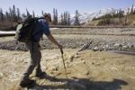 Thumbnail Hiker crossing Sheep Creek, balancing with hiking pole, Slims River Valley, Kluane National Park, Yukon Territory, Canada