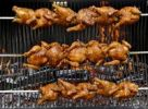Thumbnail Grilled chicken on a wooden grill