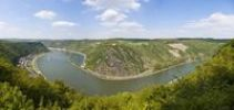 Thumbnail View from the Lorelei lookout over the bend of the the Rhine River and the Rock of Lorelei, Urbar, Rhein-Hunsrueck district, Rhineland-Palatinate, Germany, Europe
