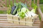 Thumbnail Green asparagus, eggplants, zucchini, spring onions, fennel, leeks in a basket