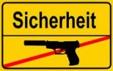 Thumbnail Sign city limits, symbolic image for security without weapons