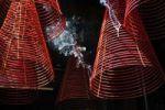 Thumbnail Rising smoke, red incense steaming spirals at Phuc An Hoi Pagoda, Ho Chi Minh city, Saigon, Vietnam, Southeast Asia
