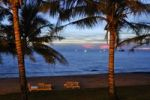 Thumbnail Evening beach with palm trees and benches, sunset in Phu Quoc, Vietnam, Asia