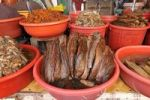 Thumbnail Dried fish and marinaded in a plastic bowl, fish market, Vinh Long, Mekong Delta, Vietnam, Asia