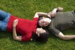 Thumbnail Love couple lying in meadow