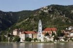 Thumbnail Duernstein, view from Rossatz over the Danube river, Wachau, Lower Austria, Austria, Europe