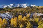 Thumbnail San Juan Mountains and Aspen trees in fallcolor at sunrise, Dallas Divide, Ouray, Rocky Mountains, Colorado, USA