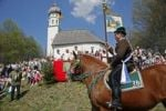 Thumbnail 51. Georgiritt traditional procession with approximately 90 participants at the Schimmelkapelle chapel, Ascholding, community Dietramszell, district of Bad Toelz Wolfratshausen, Bavaria, Germany,