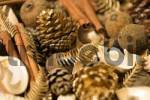 Thumbnail christmas decoration from differents nuts, spices and pine cones