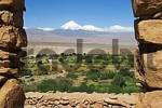 Thumbnail View from the Inca fortress Pukara de Quitor to Licancabur volcano, Atacama desert, northern Chile, South America