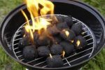Thumbnail Charcoal briquettes burning in a small portable barbeque standing on green grass