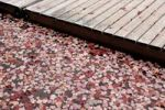 Thumbnail Red fallen leaves and floating deck in water, autumn in Ontario, Canada