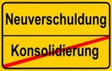 Thumbnail Sign city limits, symbolic image for the conflict between new debts and consolidation