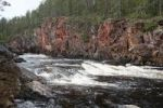 Thumbnail Red granite rocks in the rapids of the Oulankajoki river Oulanka in National Park, Lapland, Finland, Europe