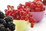 Thumbnail Wild berries in colourful bowls, raspberries, blackberries, currants