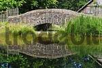 Thumbnail historical arch-bridge is being reflected on the water of a small lake